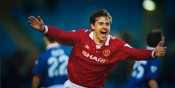 BT Sport, Football, pic: 13th April 1994, FA, Cup Semi-Final Replay, Manchester United 4 v Oldham Athletic 1, Manchester United's Andrei Kandchelskis celebrates after scoring the 2nd goal